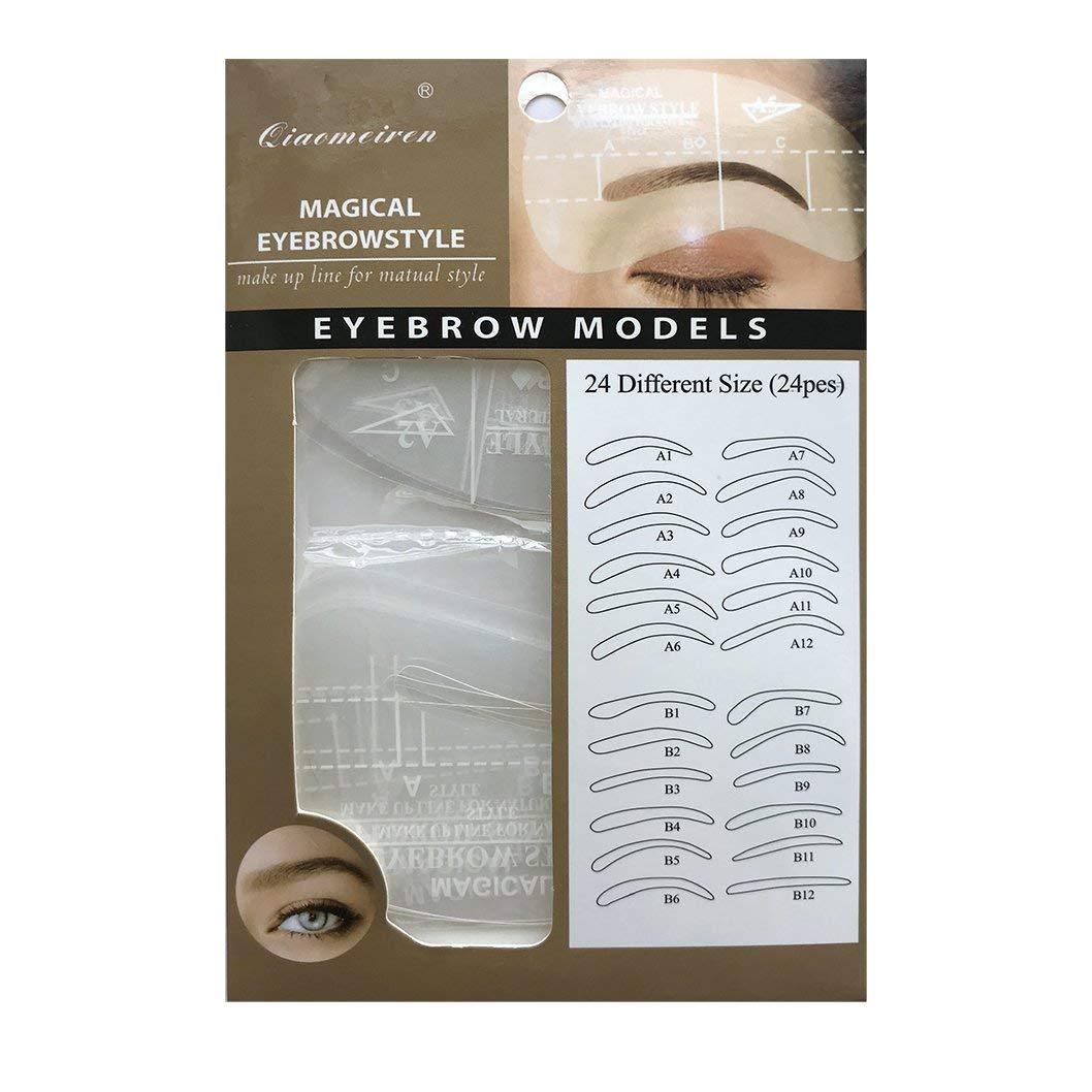24 Different Eyebrow Shaping Stencils, Eyebrow Stencil,Eyebrow Grooming Stencil Kit Shaping Templates Eyebrow Frame DIY Tools