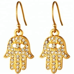 prong setting 925 silver hamsa earring