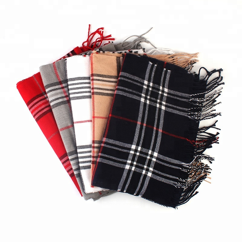 100% plaid Cheap polyester long neck <strong>scarf</strong> men