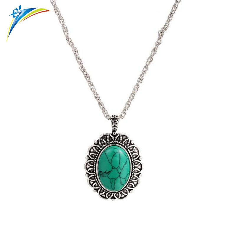 75 CM Necklace Retro turquoise Pendant Long Sweater Chain Clothes Accessories Bijoux female necklace
