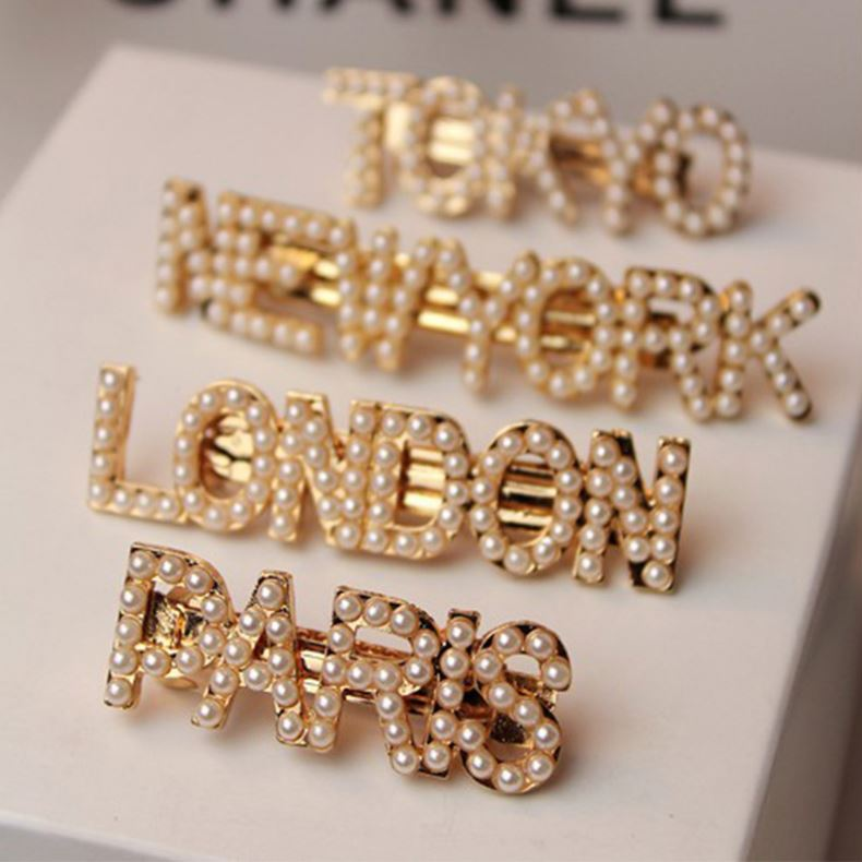 2019 trend bridal hairpins accessories City name letter hair clip pearl hair accessories
