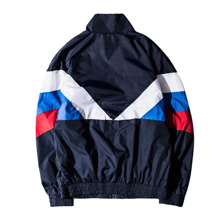 Wholesale Retro Mens Nylon Color Block Windbreaker Jacket