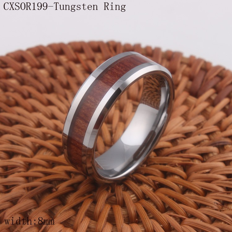 8mm Wholesale Mens Tungsten Carbide Wedding Ring Wood Inlayed