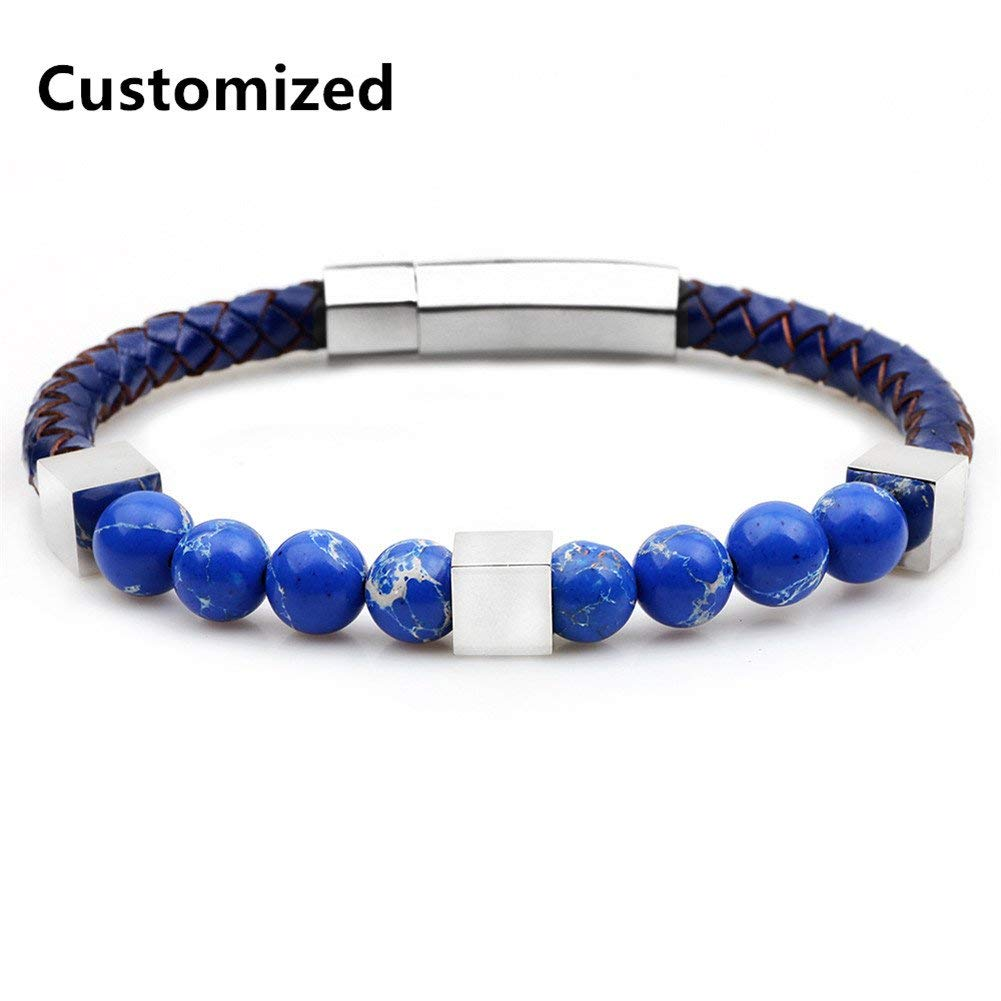 LiFashion LF Mens Stainless Steel Handmade Genuine Leather Personalized Name Custom Lapis Lazuli Chakras Beads Magnetic Clasp Bracelet for Boyfriend Husband Son BFF Gift,Free Engraving Customized