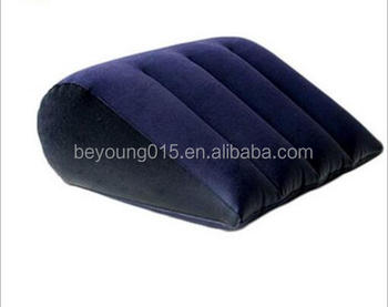 Wedge Shape Inflatable Pillow And Flocked Pvc Material Inflatable