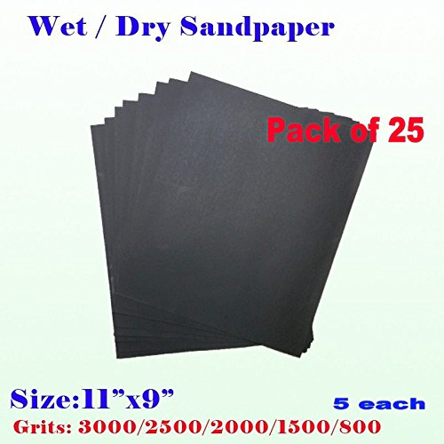 "Pack of 25 11"" x 9"" Wet Dry Sandpaper Sanding Paper Abrasive Assorted Grits 800/1500/2000/2500/3000 (5 each) Grit Finishing , Auto Body , Sand Paper Full Sheet"