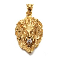 In Stock Factory Custom Inlay CZ Gold Plated Stainless Steel Necklace Pendant