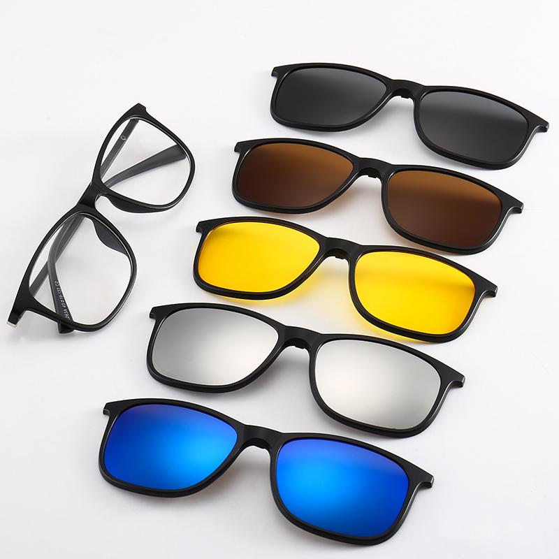 57d5a7b8f4b Polarized Sunglasses Magnetic Clip 1 Optical Frame 5 Lenses Spring Hinge  Men Women Glasses - Buy Clip On Sunglasses