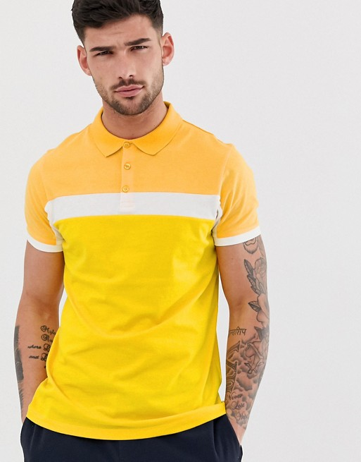 KY OEM Button placket Contrast panel Fitted cuffs lemon yellow polo shirt with contrast panels polo t-shirt men