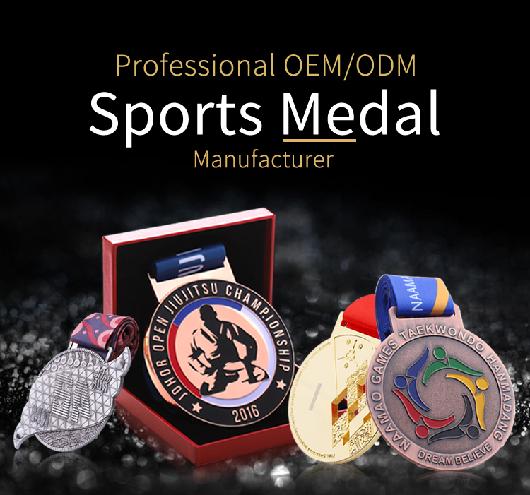 Custom zinc alloy metal enamel sports award medal with print ribbon