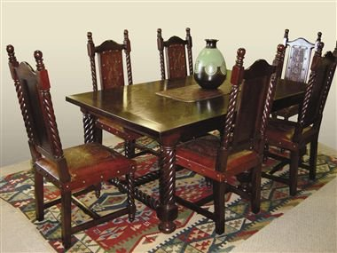 Solomon Mediterranean Style Wood Dining Table U0026 Chairs   Seven .   Buy  Wooden Dining Set Product On Alibaba.com