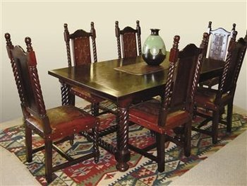 Solomon Mediterranean Style Wood Dining Table Chairs Seven
