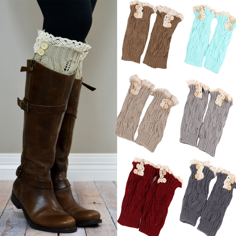 C89114A New ladies knit boot cuffs fashion style button leg warmers crochet boot socks
