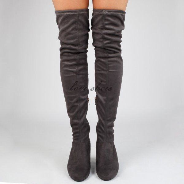 03d2e9b8b49 Light Grey long boots for women shoes Over The Knee faux suede ladies Boots