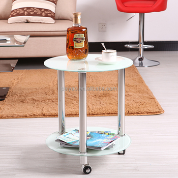 Small Round Aluminium Movable Gl Coffee Table