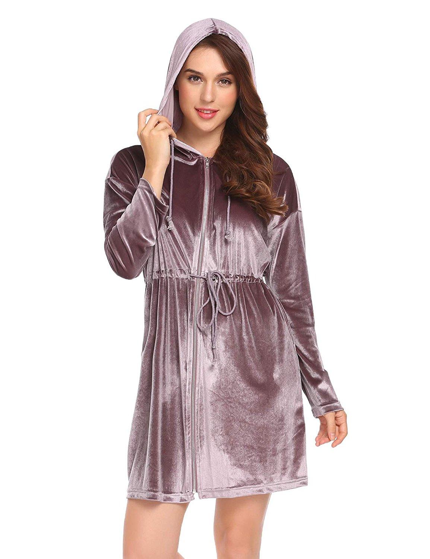 7dcebe938e Get Quotations · Eshion Women Velvet Hooded Solid Nighties Sleepwear Robe  Dress Long Sleeve Bathrobe