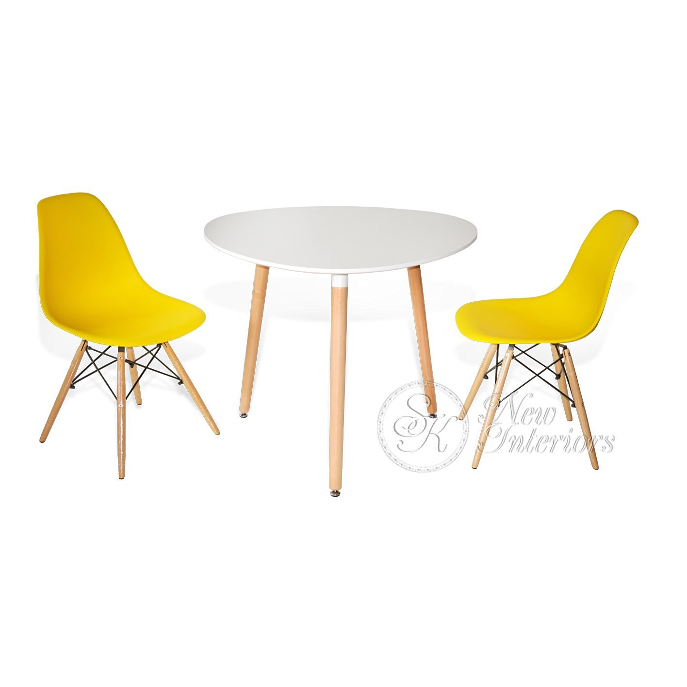 Buy 3 Piece Dining Set Rounded Triangle Round White Table ...