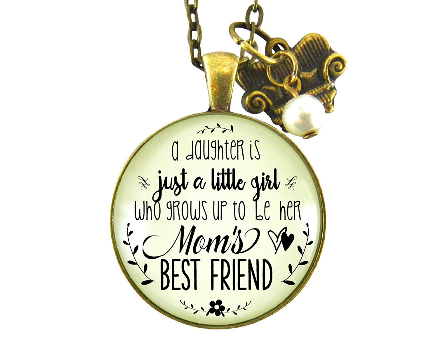 """24"""" Mother Daughter Necklace Daughter Is Just a Little Girl Mom's Best Friend Rustic Keepsake Jewelry Couch Charm"""