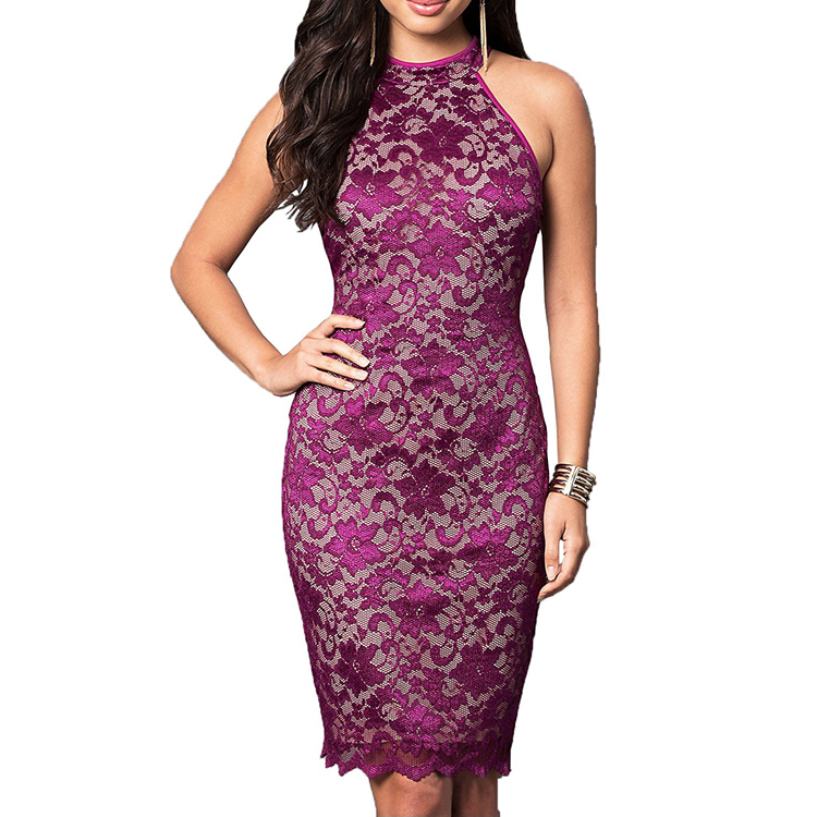 Cothing Supplier Women's Elegant Sleeveless Floral Lace Vintage Midi Evening Dress