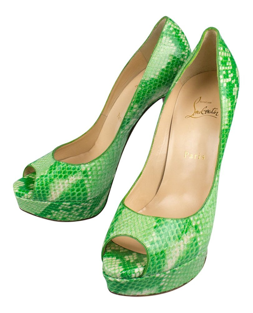 182559ac1644 Get Quotations · Christian Louboutin Lady Peep Green Python Heels Shoes  Size 7.5 37.5