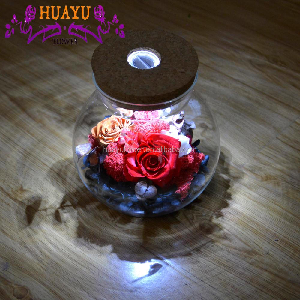 Wholesale hot selling style wishing bottle preserved roses in glass dome