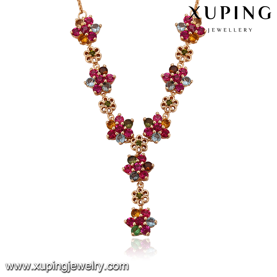 43448-Xuping women female newest flower design gold colorful necklaces