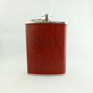 brown leather stainless steel hip flask