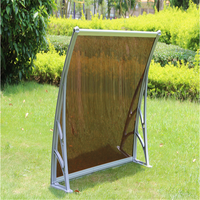 HOT Door Canopy Solid Roof Front Back Outdoor Rain Awning Porch Shelter Black