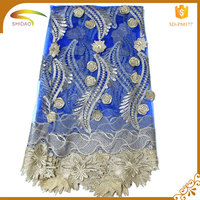 Cheap nigerian high quality lace fabric swiss 3D embroidery french cord guipure african lace for party dress