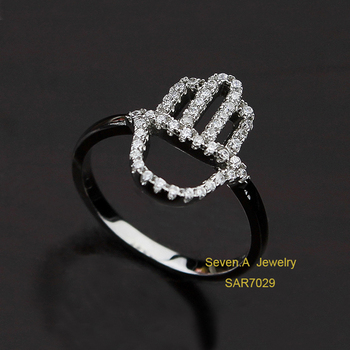 Sar7029 New Design Muslim Hamsa Hand Dubai White Gold Ring Designs