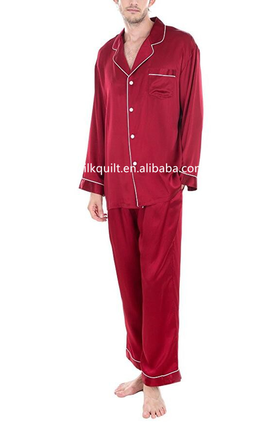High Quality Men's Silk Pajamas Suit Set