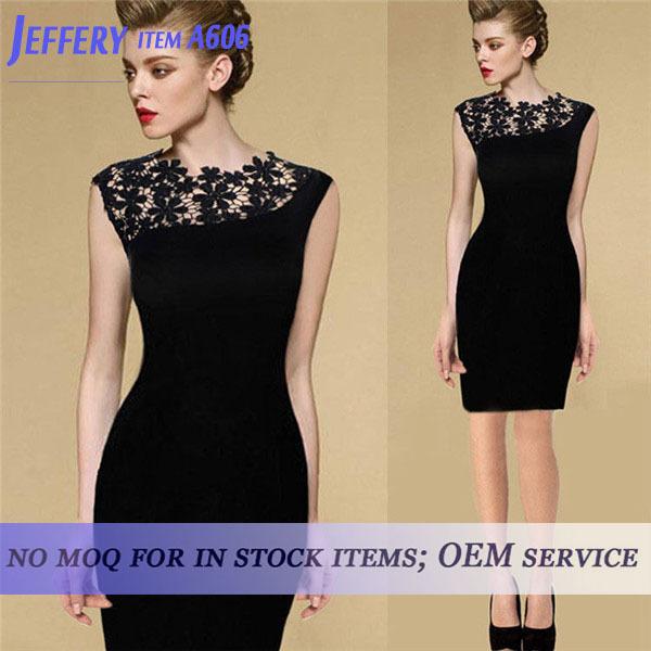 Wholesale Newest women black casual dress lace dress patterns for ...