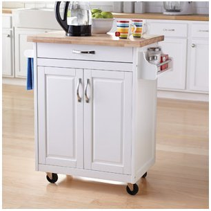 Mainstays Kitchen Island Cart, White. This Stylish Kitchen Furniture Has a Solid Wood Top. Kitchen Island SALE!! Drawer and Cupboard Provide All Your Kitchen Storage Needs. Sturdy Wheels For Moving Around. Towel Bar and Spice Rack.
