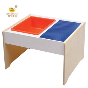 Woodgrain wooden kids lego play table with storage plastic bin