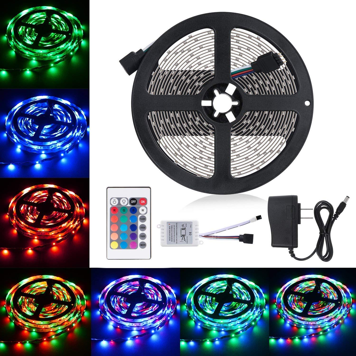 Boomile 16.4Ft LED Light Strip SMD 3528 RGB 300 LEDs strip lights,12V DC Light Strips, LED Color Changing Kit with Flexible Strip Light+24 Key IR Remote Control+Power Supply For Home Kitchen Car Bar