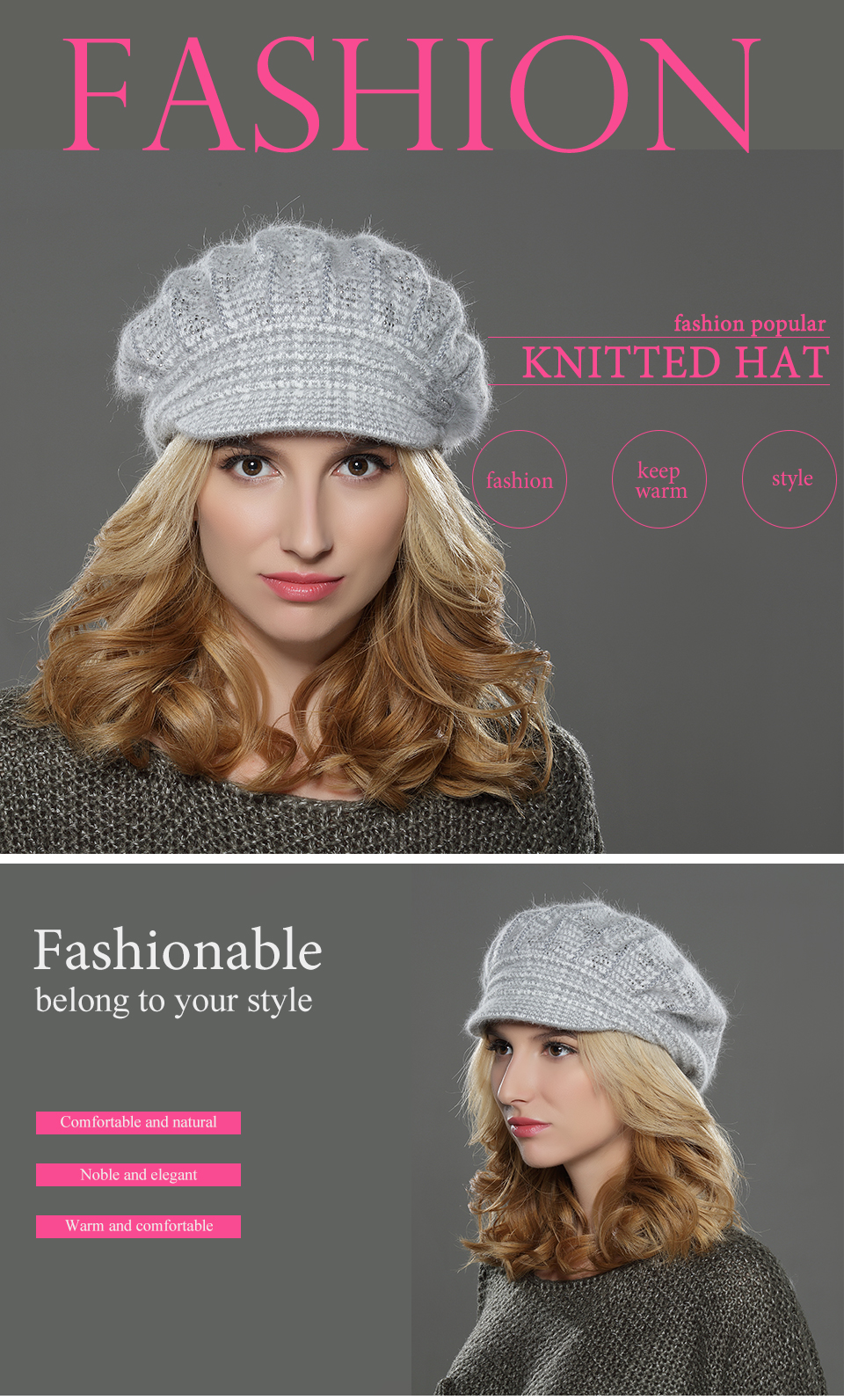 19db516c7eaa2 New slouch women winter angora wool knit beret cap for double layered lady  hat with fashion