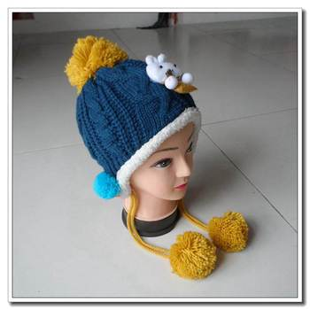 Children\'s Cute Animal Beanie Hat With Earflaps Pattern And Poms ...