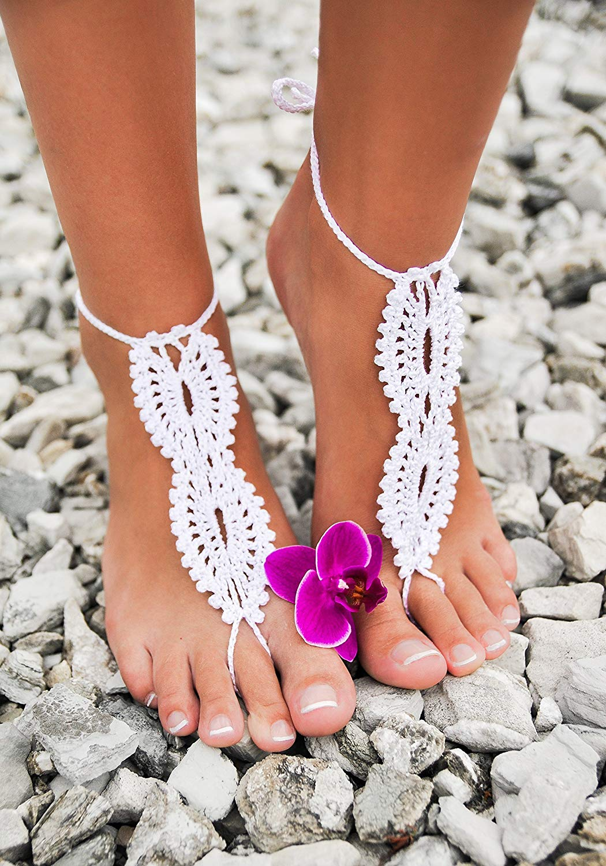 Barefoot Beach Sandalsankletbeach wedding sandalsbridal sandals