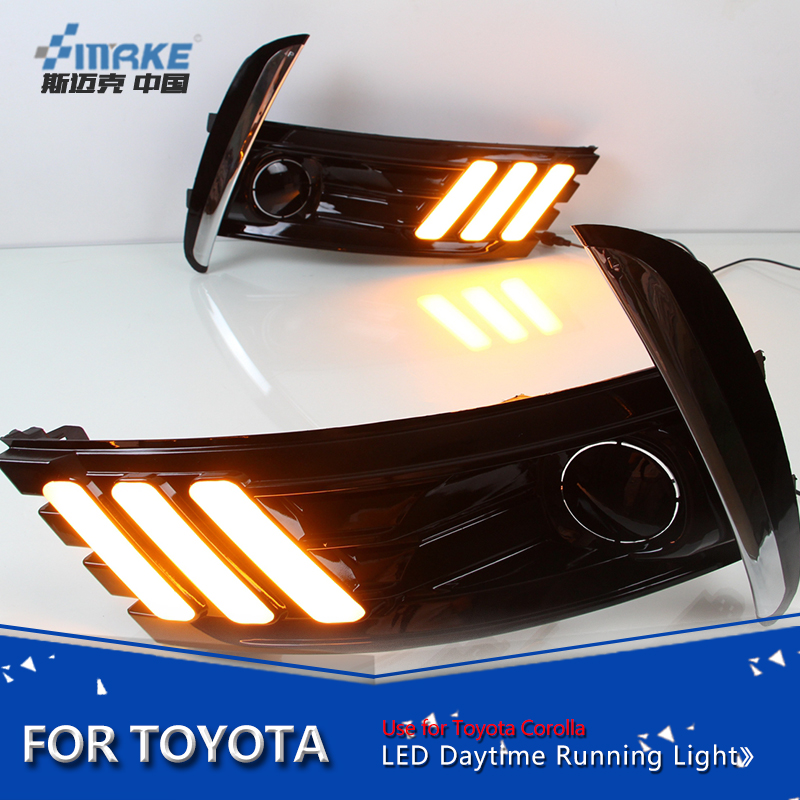 Smrke car styling led daytime light for Toyota corolla altis 2017 drl with signal led drl for new corolla fog lamp