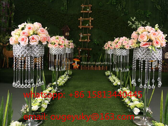 Tall silver metal flower stand , crystal wedding centerpieces for aisle decor