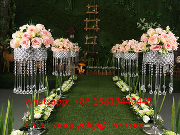 Tall Silver Metal Flower Stand Crystal Wedding Centerpieces For Aisle Decor