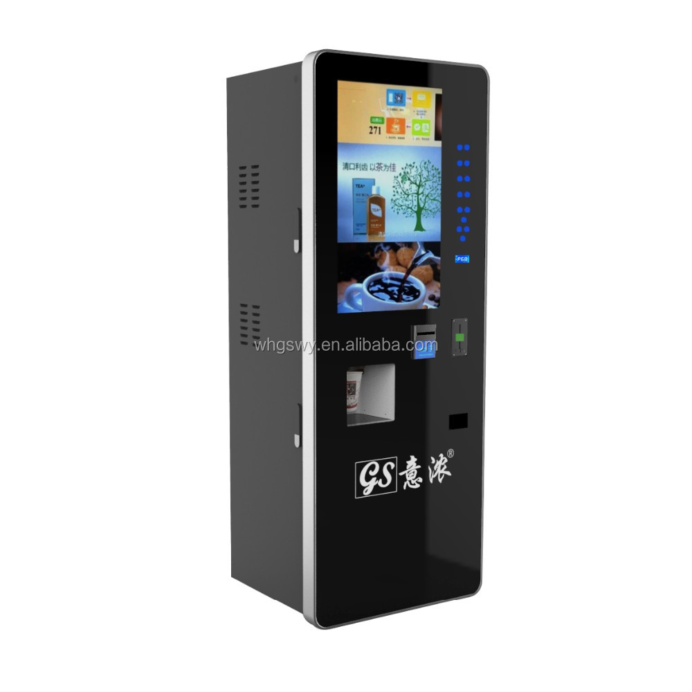 Public use coffee drinks vending machine with cash payment system