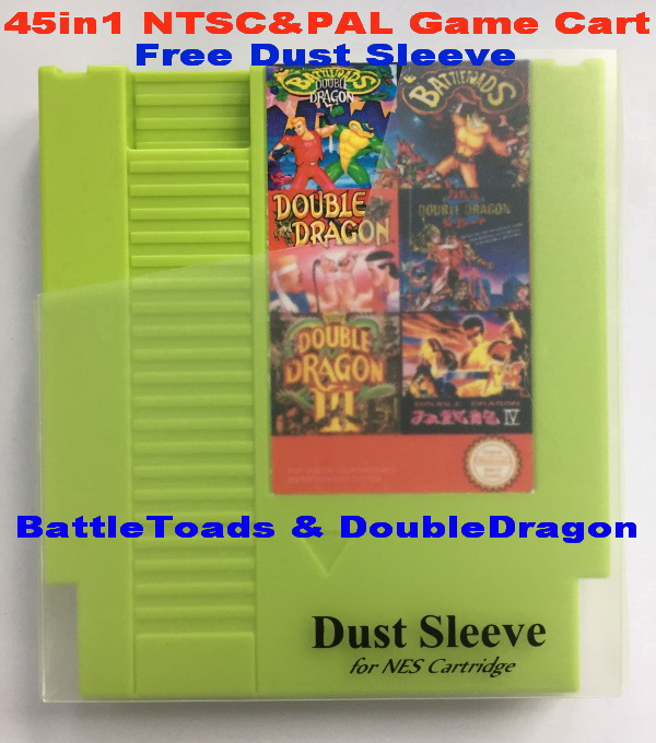 BattleToads & DoubleDragon 45in1 NTSC&PAL Games, 72 Pins for NES Game Cart Replacement Shell