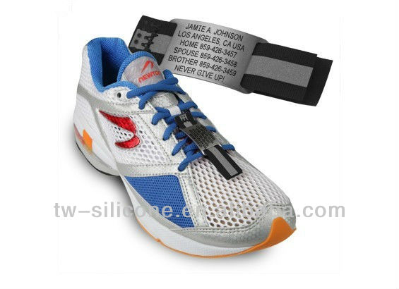 nylon sports shoes bands with engraved logo plate for safety