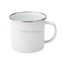 Hot Selling custom 350ml enamel cup sublimation enamel camping enamel mug with lid