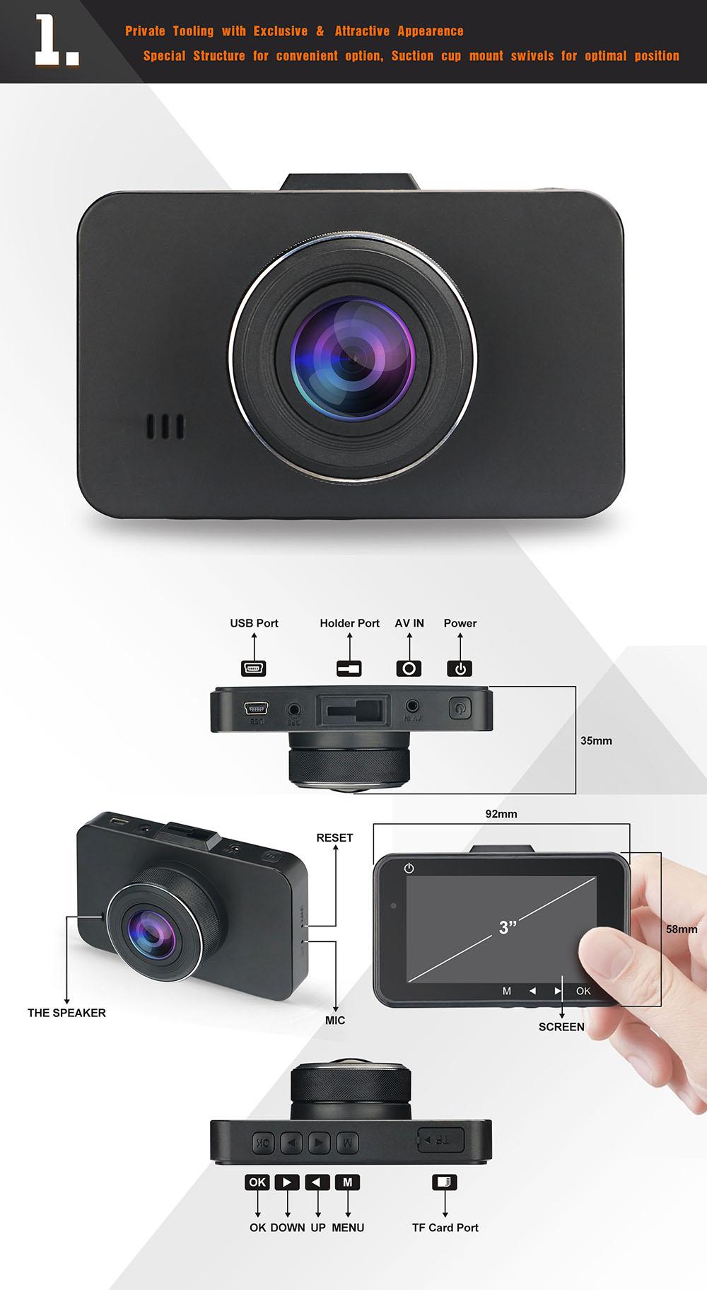 170 wide angle xiaomi yi dashcam  ms3  dash cam with adas night vision