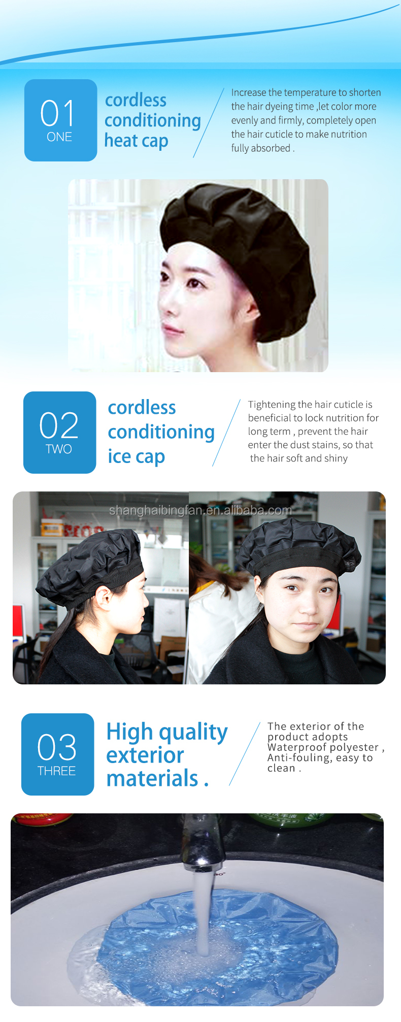 Hair Salon Equipment Heated Conditioning Cap,Therapy Wrap Thermal Spa Hair Steamer Gel Hat