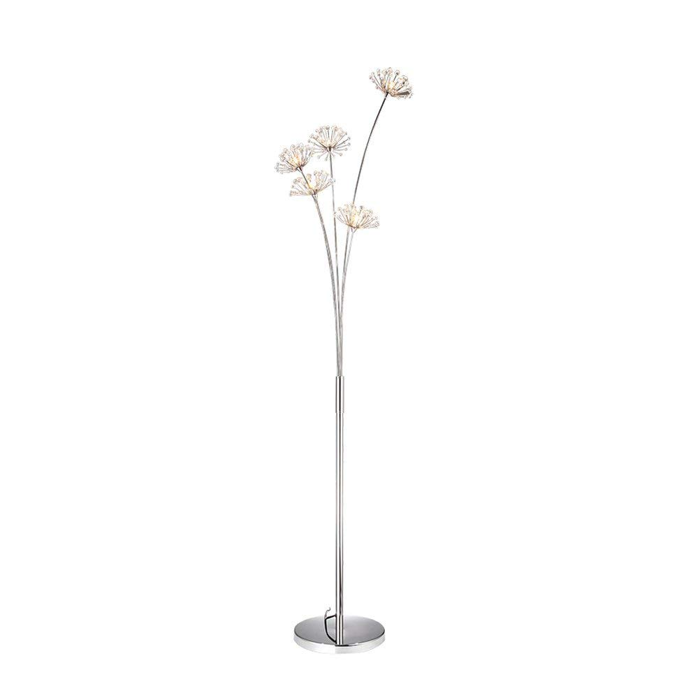 WAN SAN QIAN- Creative Dandelion Crystal LED Floor Lamp Modern Iron Vertical Decorative Lights, G4 Warm Light-5 Floor Lamp