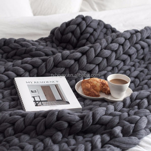 Factory Wholesale chunky knit wool blanket Super soft and giant for home decoration Chunky Throw wool blanket