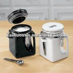 square ceramic canister with Handle and Spoon